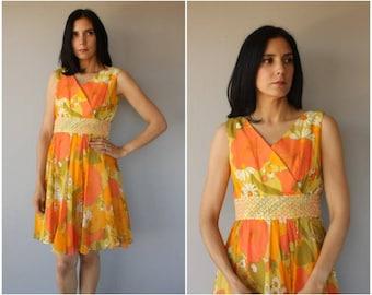 Vintage 1960s Party Dress   60s Dress   1960s Floral Print Dress   60s Party Dress   1960s Cocktail Dress - (medium)