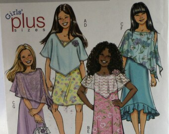 Butterick 4681 -  Girl's Dress Sewing Pattern - Poncho Sewing Pattern -  New - Uncut - Size 7-8-10-12-14