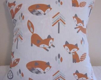 Fox Pillow Cover, Nursery Pillow Cover, Playful Foxes Pillow Cover, Fox Envelope Pillow Cover