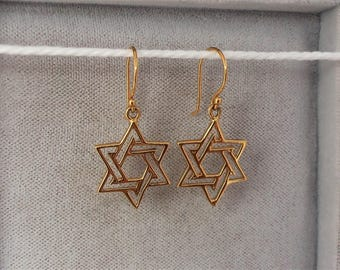 18ct Gold over Sterling Silver Star of David Earrings 30mm x 14mm.
