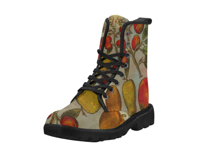 Botanical pears and apples, Women's high top combat boots, 80's style, feminine prints
