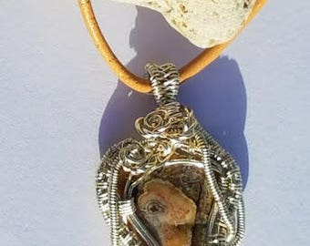 Wire Wrapped Pendant. Wire Wrapped Necklace.  Mexican Crazy Lace Agate.