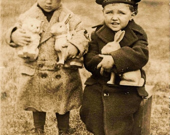 Vintage Easter Photo, Little Boys with Rabbits, Digital Download, Sepia Photograph, Easter Rabbits, Vintage Ephemera, Antique Photo