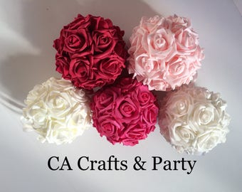 Foam rose kissing ball 6 inch or 7 inch foam rose flower ball- wedding table centerpieces- pomander foam roses.