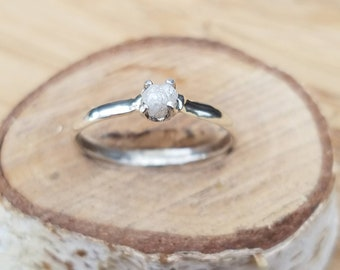 Raw diamond ring rough diamond ring uncut diamond ring engagement ring wedding ring sterling silver diamond ring one of a kind ooak