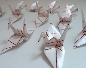 Set of origami cranes: Rose Gold Collection