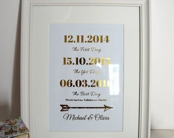 Wedding Date Sign, Custom Wedding Print, Gold Foil Wedding Sign, Personalized Wedding Sign, Personalized Anniversary Gift, Important Dates