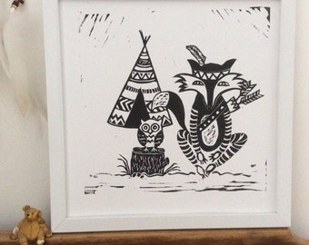 Tribal Owl and Fox. Original design. Hand printed Lino cut/print. Limited Edition. Numbered 1of 10