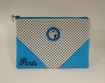 """la parisienne Kiraz"" makeup bag / / paris / / kawaii / / blue / / white"