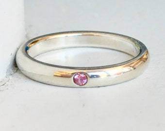Vintage Pink Sapphire Tiffany and Co Sterling Silver Wedding Band