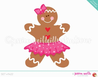 Instant Download Cute Gingerbread Girl Tutu Digital Clipart, Cute Gingerbread Clip art, Gingerbread in Tutu, Gingerbread Illustration, #1422