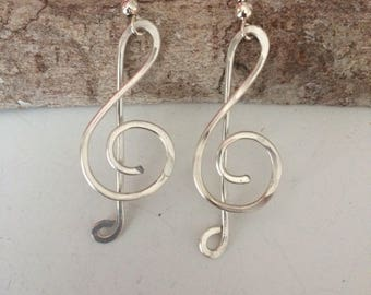Treble clef earrings, music jewelry, sterling silver dangle earrings, music lover, gift for musician, teacher gift, gift for her,
