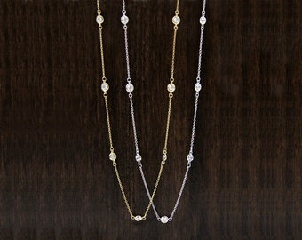 "Gold, Silver, Rose Gold Plated Diamond By the Yard Station Necklaces-Brilliant Cut Diamond Simulants-16"" to 54""-Sterling Silver [1111N]"