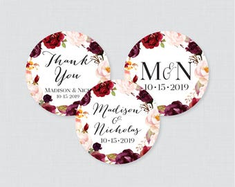 Printable OR Printed Wedding Stickers - Marsala and Pink Floral Circle Wedding Labels, Personalized Wedding Favor Tags/Stickers, Pink 0006