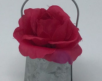 Mini Galvanized bucket with handle and flowers ( set of 3)