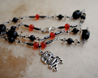 Pirate Skull Necklace Black and Red Beaded Jewelry Halloween Goth Day of the Dead