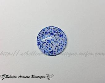 1 x Cabochon round 20mm blue - liberty print