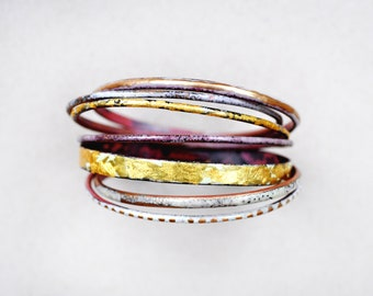 Gold and White Bangle Set - Handmade Enamel Bracelets