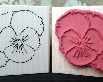 Pansy flower rubber stamp from oldislandstamps