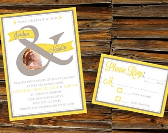 Yellow and Gray Wedding Invitation & RSVP Card - DIGITAL ARTWORK (Printable)