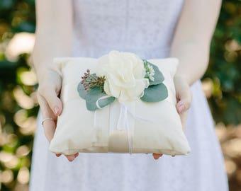 Ring Bearer Pillow | Rustic Ring Bearer Pillow | Ivory Linen Ring Pillow | Eucalyptus Wedding Pillow | Ivory Floral | Wedding Ring Pillow