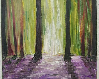 "Bluebell Woods Acrylic Abstract Painting / Woodland Art / Original Artwork / ""Deep In The Woods"" on canvas 20cm x 20cm."