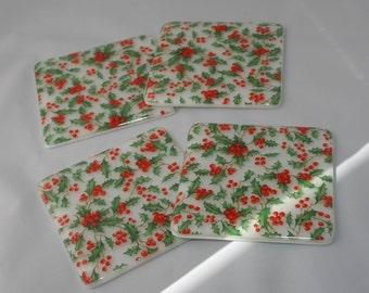 Dessous de verre imprimé feuilles de houx et baies
