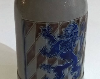 West Germany Stein Mug Gray and Blue Blue Lion Gobel Merkelbach European Lion Design Cobalt Blue Salt Glaze Salzglsur