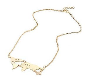 World map necklace etsy fashion gold plated long chain world map necklace world continents clavicle charm pendant gumiabroncs Gallery