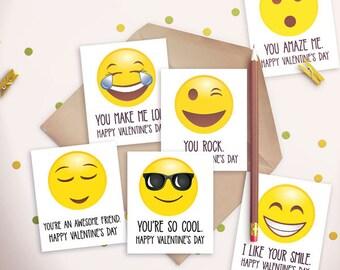 Emoji Valentine's Card - Emoticon - For Classroom - Boys - Girls - Gender Neutral - Valentine - Card - Printable - Download