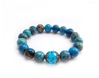 Royal Blue Stacking Bracelet - Aqua Terra Jasper Stones - Cobalt Blue - London Blue Crystal - Elastic Bohemian Bracelet