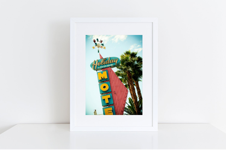Holiday Lodge Neon Sign Photo Mid Century Modern Motel Sign