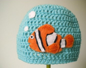 Crochet Hat - Snug Beanie in Aqua Blue with Bright Orange Clownfish - Soft Crochet Hat for Baby / Toddler / Boy / Girl / Man / Woman