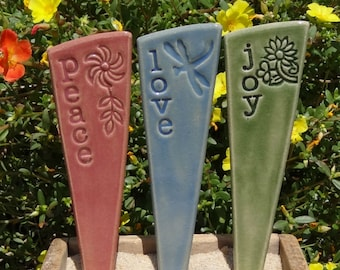 Peace, Love, Joy - Garden Marker Trio - READY TO SHIP
