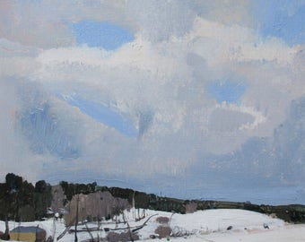 Across, Original Winter Landscape Painting on Panel 8 x 8 Inches, Stooshinoff