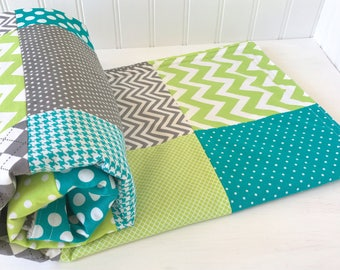 Baby Blanket, Minky Baby Blanket, Baby Quilt, Nursery Decor, Blanket, Baby Shower Gift, Teal Blue Lime Green Gray Grey White Baby Boy