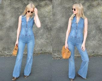 Vintage 90s Blue Denim Zip Front Flared Jumpsuit