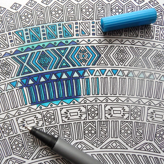 Giant Mandala Coloring Page for Adults Adult Coloring Page