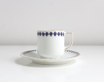 Demitasse Teacup, Blue Teacup, Blue Demitasse, Teacup & Saucer, Teacup Set, Blue and White Teacup, Vintage Teacup, Thistle Teacup, Cobalt