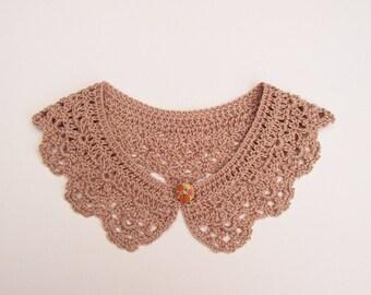 Cappuccino Crochet Peter Pan Collar, Cotton Detachable Lace Accessory