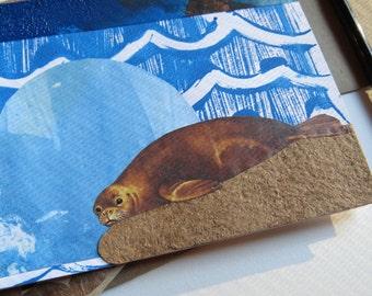 """Original Art-Card (1 card) """"Ocean Waves & Dreamy Seal """" envelope included"""