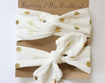 Gold Foil Dot Knot and Turban Headband, Mommy and Me Headbands, Gold and Cream headbands, Mini Me Headbands, Top Knot, Turban, Mother's Day
