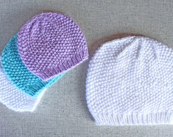 Seed Stitch Textured Beanie Hat in baby, toddler, child, adult sizes