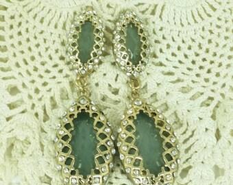 Jade Green Vintage Earrings