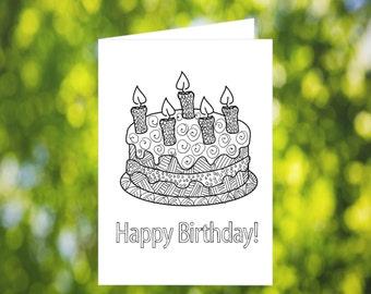 Birthday Cake Coloring Card: Printable Coloring Birthday Card - Birthday Card Download - Birthday Cake Card - Kids Zentangle Birthday Card