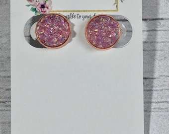12mm Light Pink Druzy Earrings