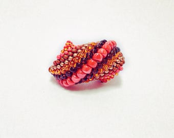 Beaded Ring Autumn Colors Spiral Statement Ring Pumpkin Orange Brown Copper Beads