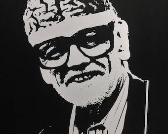 George A Romero, original silk screen art print, Pittsbirgh zombie movie legend, horror, halloween decoration 11x14