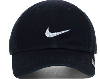Bling Custom Hat In Black Nike Phillip Cap II Snap Back With Swarovski Crystals