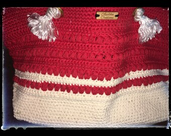 Red and White Market Bag